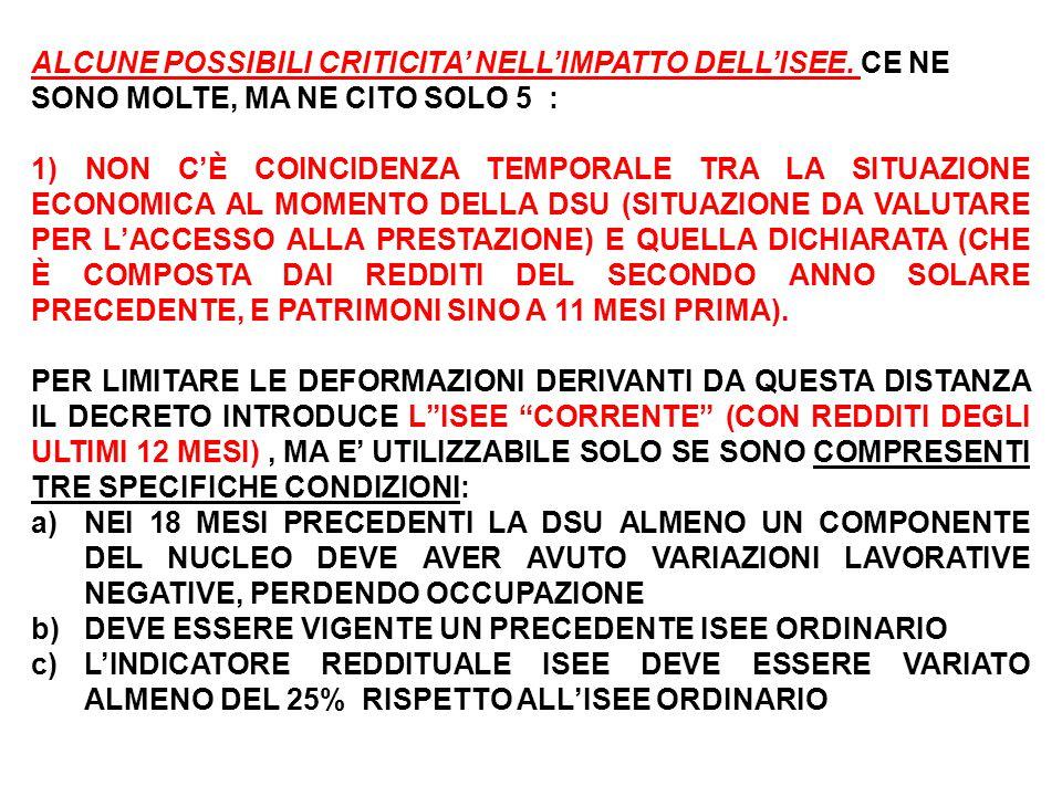 ALCUNE POSSIBILI CRITICITA' NELL'IMPATTO DELL'ISEE.