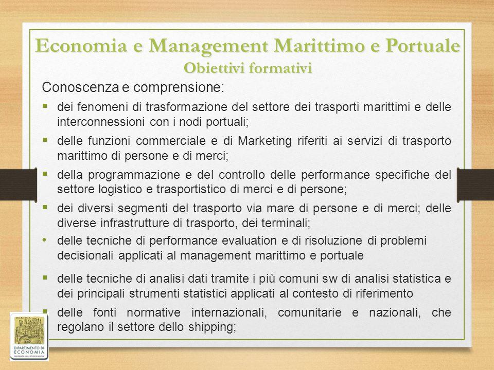 Economia e Management Marittimo e Portuale Obiettivi formativi Conoscenza e comprensione:  dei fenomeni di trasformazione del settore dei trasporti m