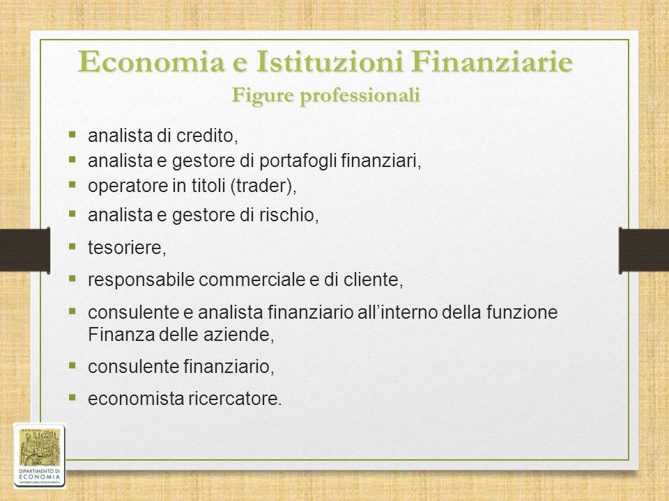 Economia e Istituzioni Finanziarie Figure professionali  analista di credito,  analista e gestore di portafogli finanziari,  operatore in titoli (t