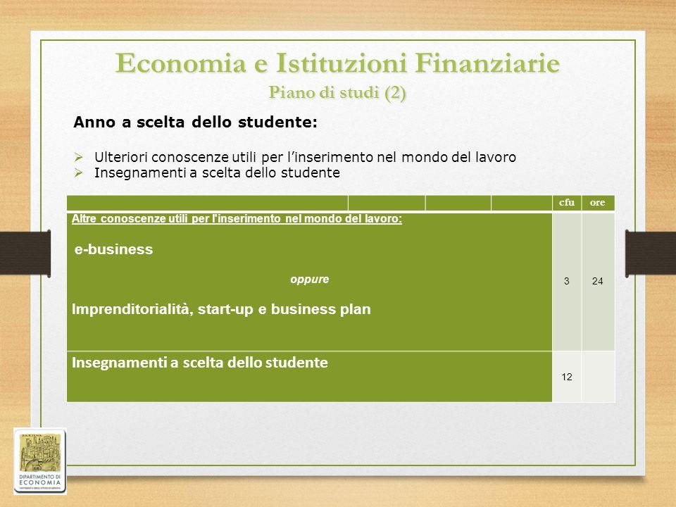 Economia e Istituzioni Finanziarie Piano di studi (2) cfuore Altre conoscenze utili per l'inserimento nel mondo del lavoro: e-business oppure Imprendi