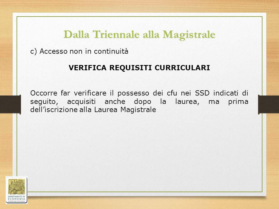 Dalla Triennale alla Magistrale c) Accesso non in continuità VERIFICA REQUISITI CURRICULARI Occorre far verificare il possesso dei cfu nei SSD indicati di seguito, acquisiti anche dopo la laurea, ma prima dell'iscrizione alla Laurea Magistrale
