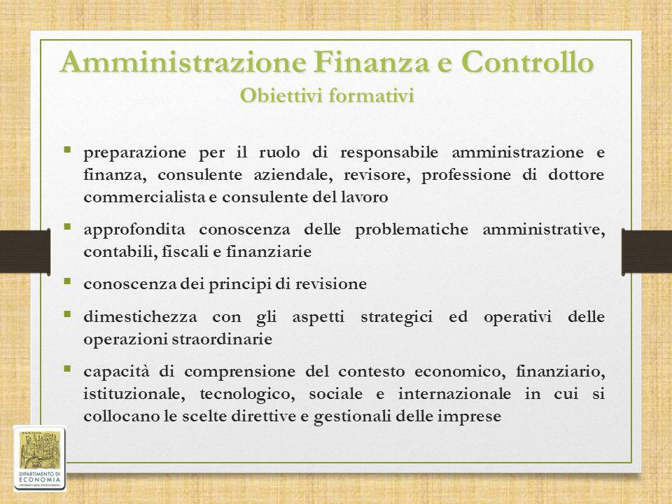Amministrazione Finanza e Controllo Obiettivi formativi  preparazione per il ruolo di responsabile amministrazione e finanza, consulente aziendale, r
