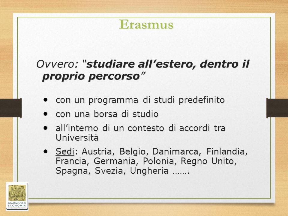 """Erasmus Ovvero: """"studiare all'estero, dentro il proprio percorso"""" Ovvero: """"studiare all'estero, dentro il proprio percorso"""" con un programma di studi"""