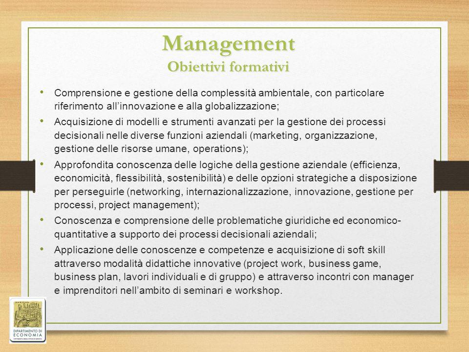 Management Obiettivi formativi Comprensione e gestione della complessità ambientale, con particolare riferimento all'innovazione e alla globalizzazion