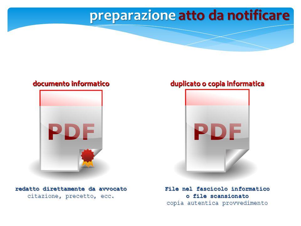 preparazione atto da notificare documento informatico duplicato o copia informatica redatto direttamente da avvocato citazione, precetto, ecc. File ne