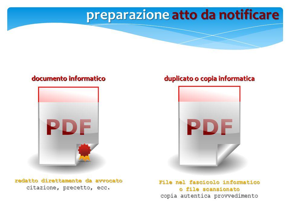 documento informatico redatto direttamente da avvocato citazione, precetto, ecc. File nel fascicolo informatico o file scansionato copia autentica pro
