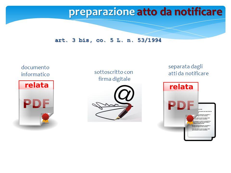 documento informatico separata dagli atti da notificare art. 3 bis, co. 5 L. n. 53/1994 sottoscritto con firma digitale preparazione atto da notificar
