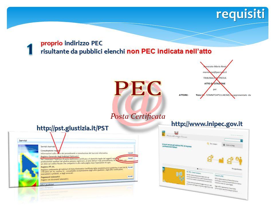 requisiti proprio indirizzo PEC risultante da pubblici elenchi non PEC indicata nell'atto http://pst.giustizia.it/PST http://www.inipec.gov.it