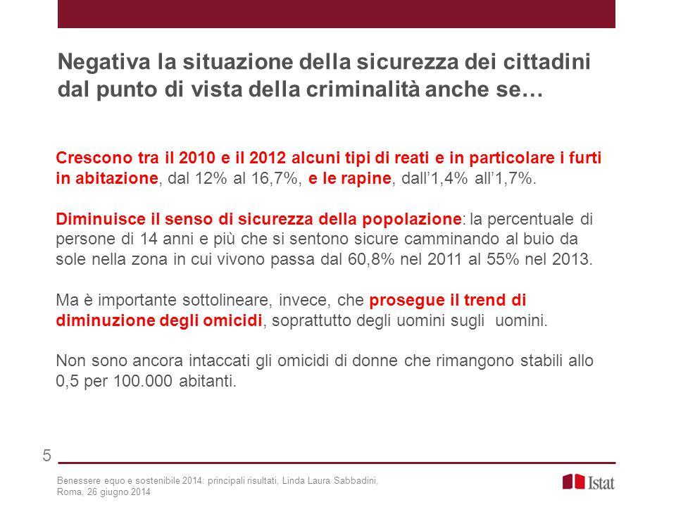 Crescono tra il 2010 e il 2012 alcuni tipi di reati e in particolare i furti in abitazione, dal 12% al 16,7%, e le rapine, dall'1,4% all'1,7%.