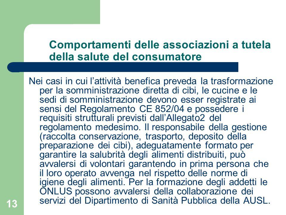13 Comportamenti delle associazioni a tutela della salute del consumatore Nei casi in cui l'attività benefica preveda la trasformazione per la somministrazione diretta di cibi, le cucine e le sedi di somministrazione devono esser registrate ai sensi del Regolamento CE 852/04 e possedere i requisiti strutturali previsti dall'Allegato2 del regolamento medesimo.