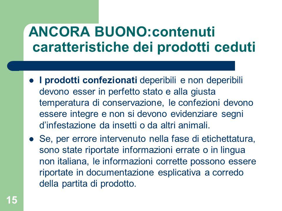 15 I prodotti confezionati deperibili e non deperibili devono esser in perfetto stato e alla giusta temperatura di conservazione, le confezioni devono essere integre e non si devono evidenziare segni d'infestazione da insetti o da altri animali.
