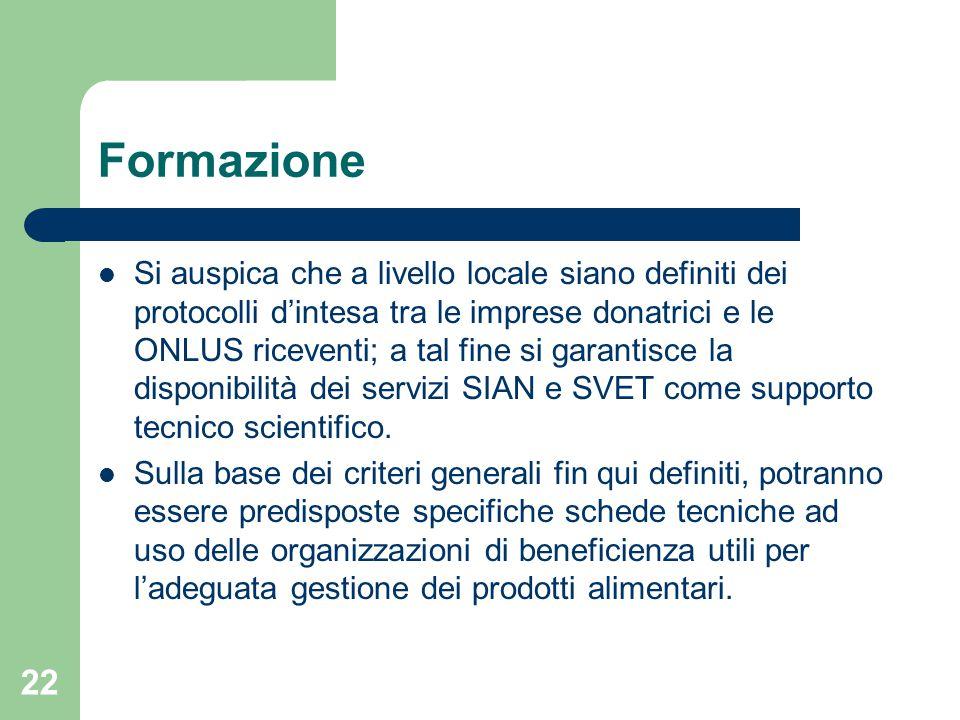 22 Formazione Si auspica che a livello locale siano definiti dei protocolli d'intesa tra le imprese donatrici e le ONLUS riceventi; a tal fine si garantisce la disponibilità dei servizi SIAN e SVET come supporto tecnico scientifico.