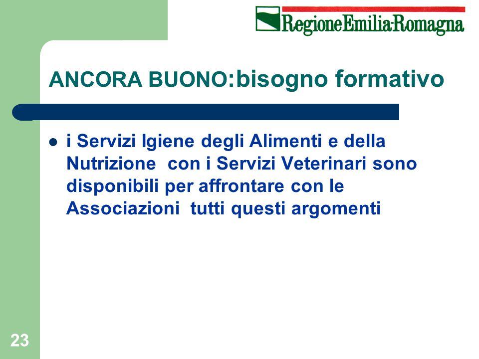 23 i Servizi Igiene degli Alimenti e della Nutrizione con i Servizi Veterinari sono disponibili per affrontare con le Associazioni tutti questi argomenti ANCORA BUONO :bisogno formativo