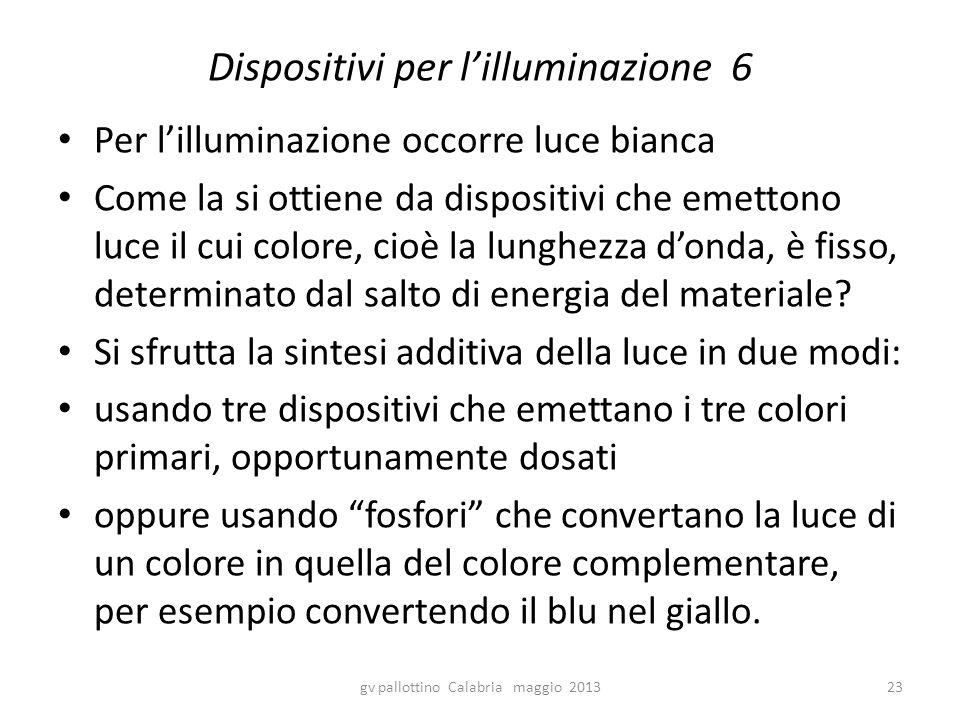 Dispositivi per l'illuminazione 6 Per l'illuminazione occorre luce bianca Come la si ottiene da dispositivi che emettono luce il cui colore, cioè la lunghezza d'onda, è fisso, determinato dal salto di energia del materiale.