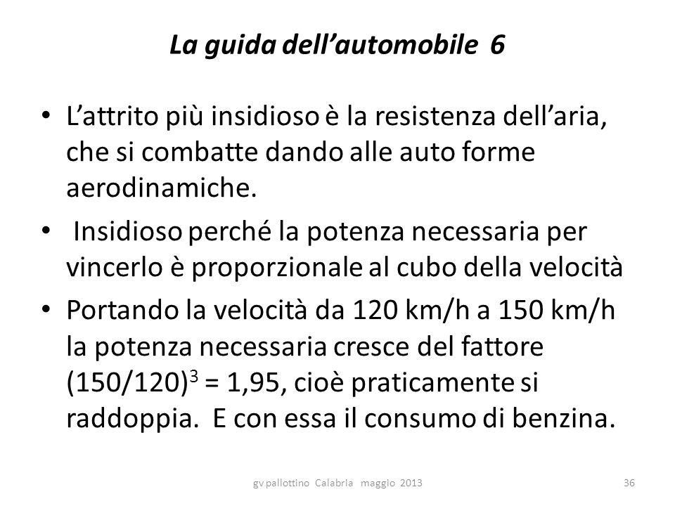 La guida dell'automobile 6 L'attrito più insidioso è la resistenza dell'aria, che si combatte dando alle auto forme aerodinamiche. Insidioso perché la