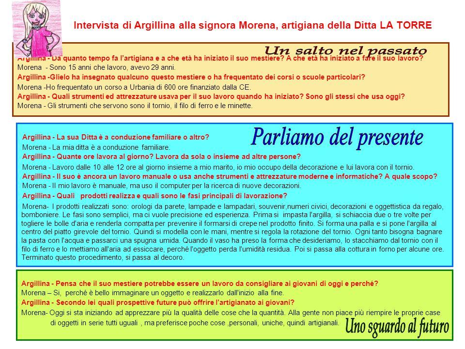 Intervista di Argillina alla signora Morena, artigiana della Ditta LA TORRE Argillina - Da quanto tempo fa l'artigiana e a che età ha iniziato il suo