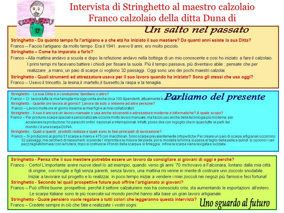 Intervista di Stringhetto al maestro calzolaio Franco calzolaio della ditta Duna di Falconara M. Stringhetto - La sua Ditta è a conduzione familiare o