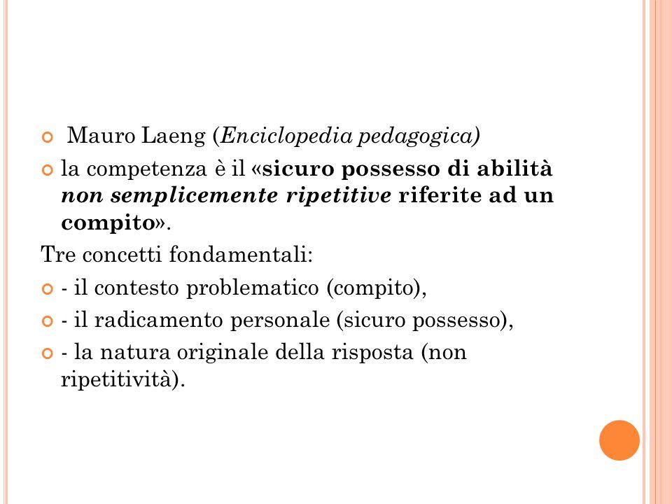 Mauro Laeng ( Enciclopedia pedagogica) la competenza è il « sicuro possesso di abilità non semplicemente ripetitive riferite ad un compito ». Tre conc