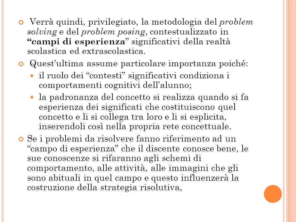 """Verrà quindi, privilegiato, la metodologia del problem solving e del problem posing, contestualizzato in """"campi di esperienza """" significativi della re"""