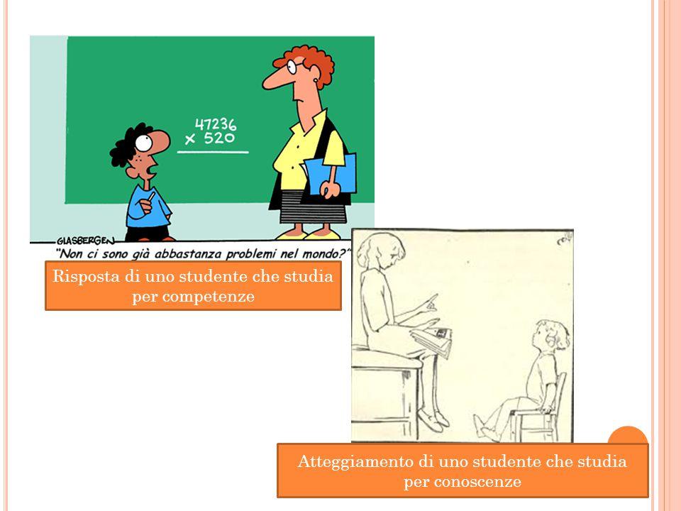Atteggiamento di uno studente che studia per conoscenze Risposta di uno studente che studia per competenze