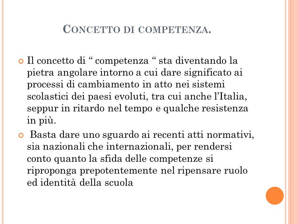 """C ONCETTO DI COMPETENZA. Il concetto di """" competenza """" sta diventando la pietra angolare intorno a cui dare significato ai processi di cambiamento in"""