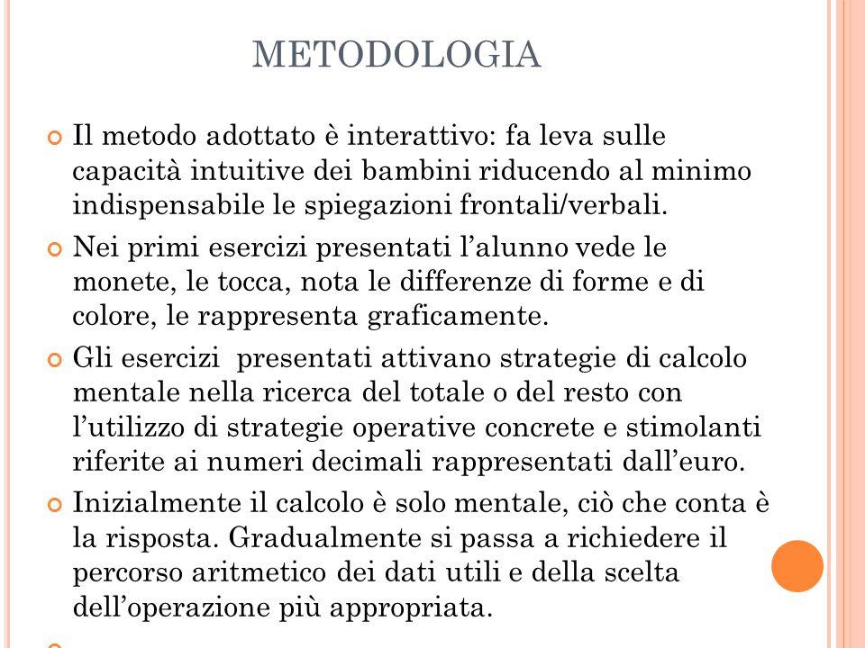 METODOLOGIA Il metodo adottato è interattivo: fa leva sulle capacità intuitive dei bambini riducendo al minimo indispensabile le spiegazioni frontali/