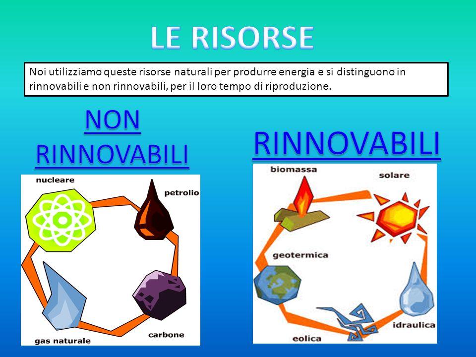 Noi utilizziamo queste risorse naturali per produrre energia e si distinguono in rinnovabili e non rinnovabili, per il loro tempo di riproduzione.