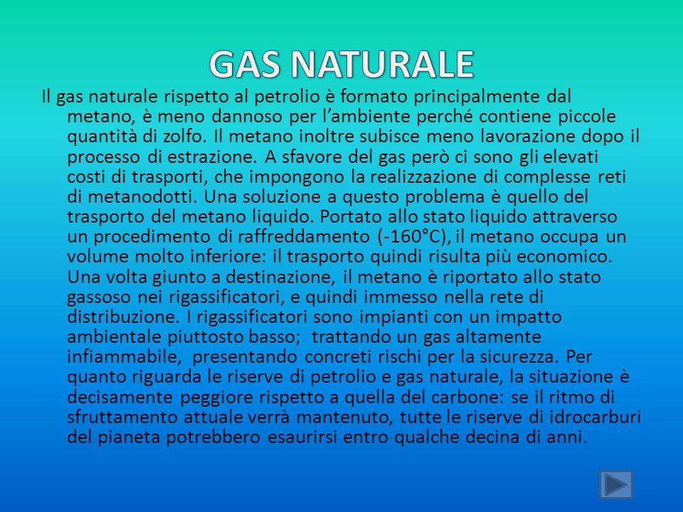 Il gas naturale rispetto al petrolio è formato principalmente dal metano, è meno dannoso per l'ambiente perché contiene piccole quantità di zolfo. Il