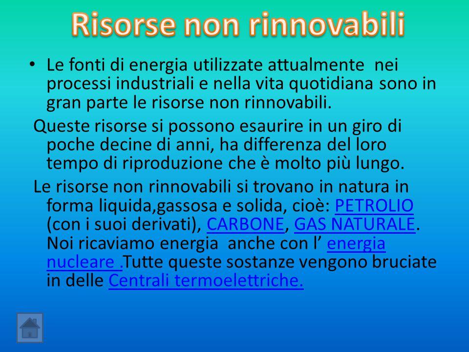 Le fonti di energia utilizzate attualmente nei processi industriali e nella vita quotidiana sono in gran parte le risorse non rinnovabili. Queste riso