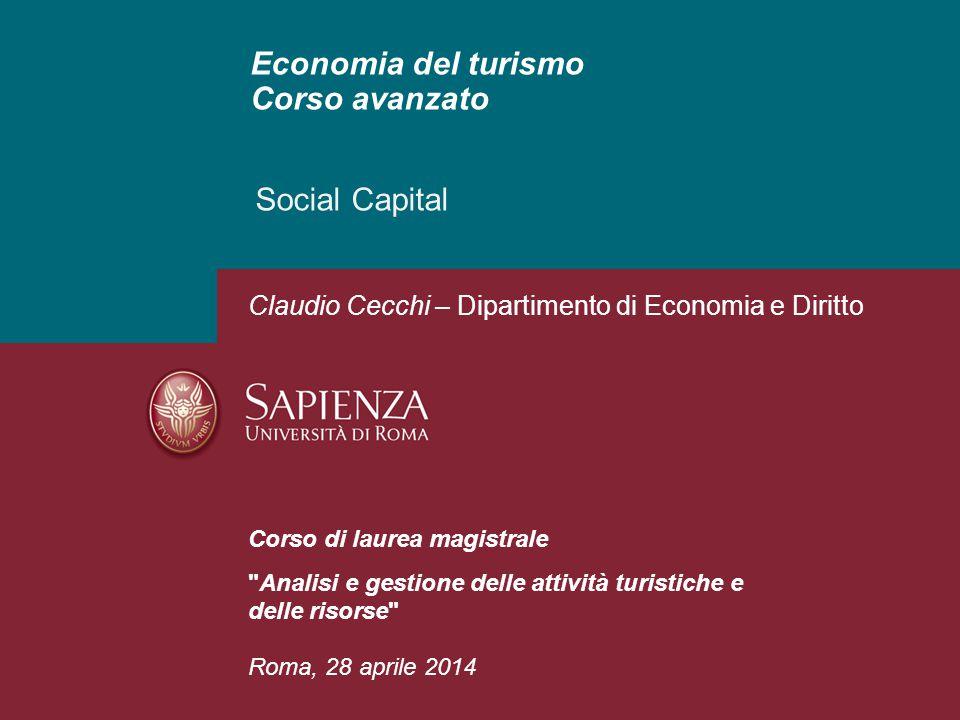 Economia del turismo Corso avanzato Social Capital Corso di laurea magistrale