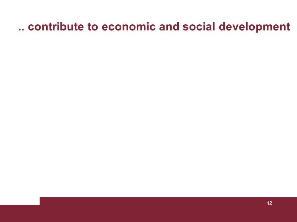 12.. contribute to economic and social development