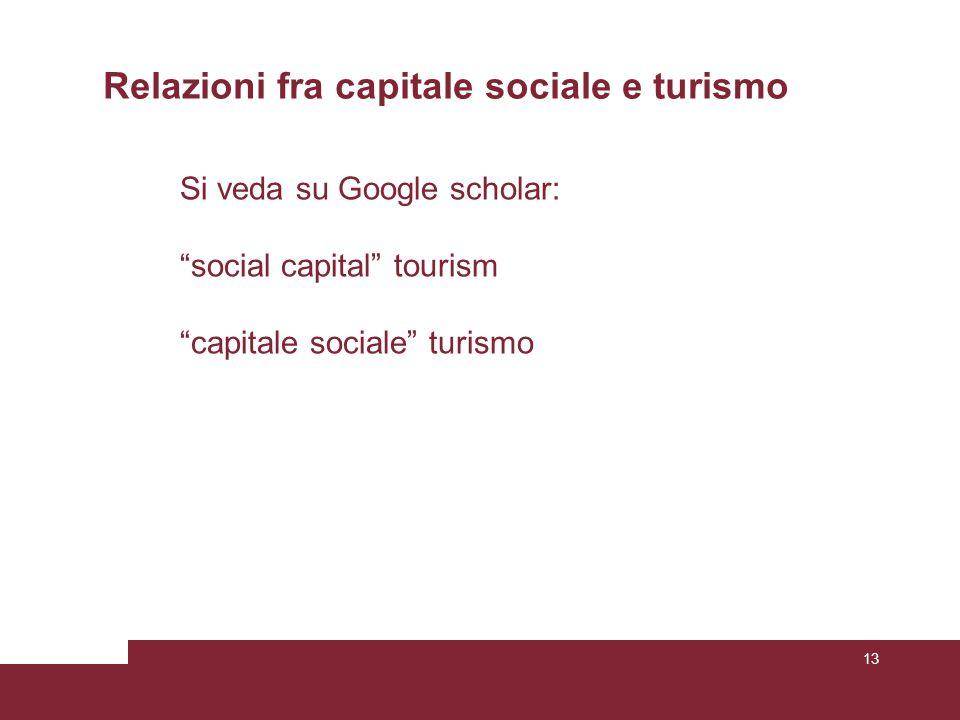 13 Relazioni fra capitale sociale e turismo Si veda su Google scholar: social capital tourism capitale sociale turismo