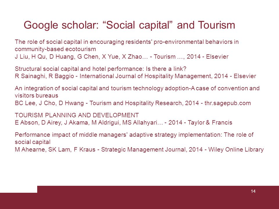 "14 Google scholar: ""Social capital"" and Tourism The role of social capital in encouraging residents' pro-environmental behaviors in community-based ec"