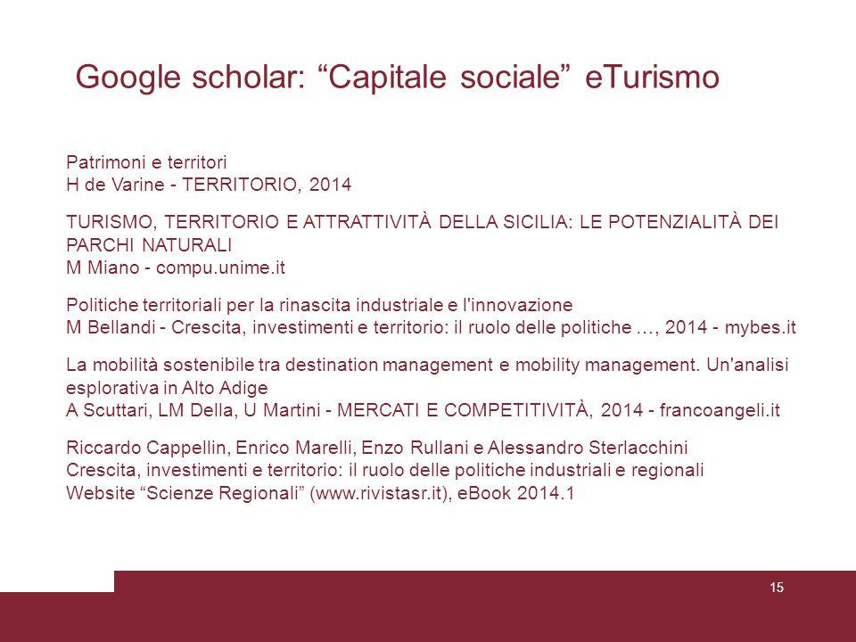 """15 Google scholar: """"Capitale sociale"""" eTurismo Patrimoni e territori H de Varine - TERRITORIO, 2014 TURISMO, TERRITORIO E ATTRATTIVITÀ DELLA SICILIA:"""