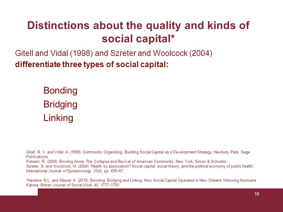 18 Distinctions about the quality and kinds of social capital* Gitell, R. V. and Vidal, A. (1998) Community Organizing: Building Social Capital as a D