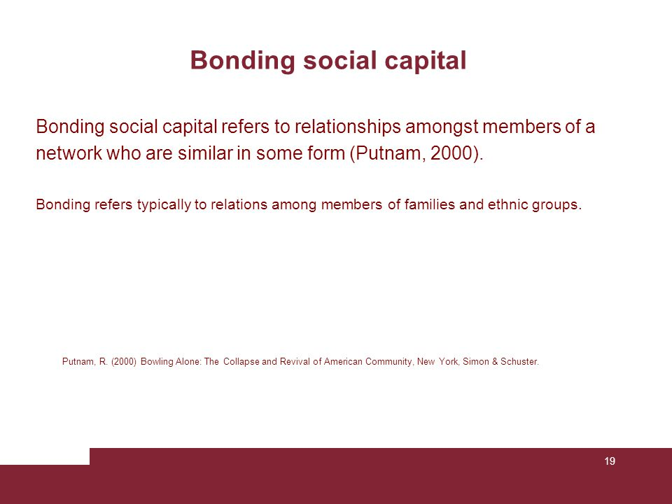 19 Bonding social capital Putnam, R. (2000) Bowling Alone: The Collapse and Revival of American Community, New York, Simon & Schuster. Bonding social