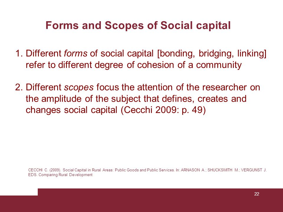 22 Forms and Scopes of Social capital CECCHI C. (2009). Social Capital in Rural Areas: Public Goods and Public Services. In: ARNASON A.; SHUCKSMITH M.