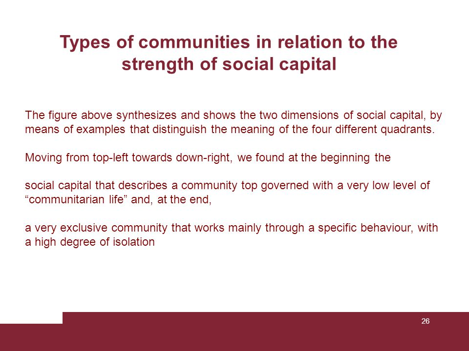 26 Types of communities in relation to the strength of social capital The figure above synthesizes and shows the two dimensions of social capital, by