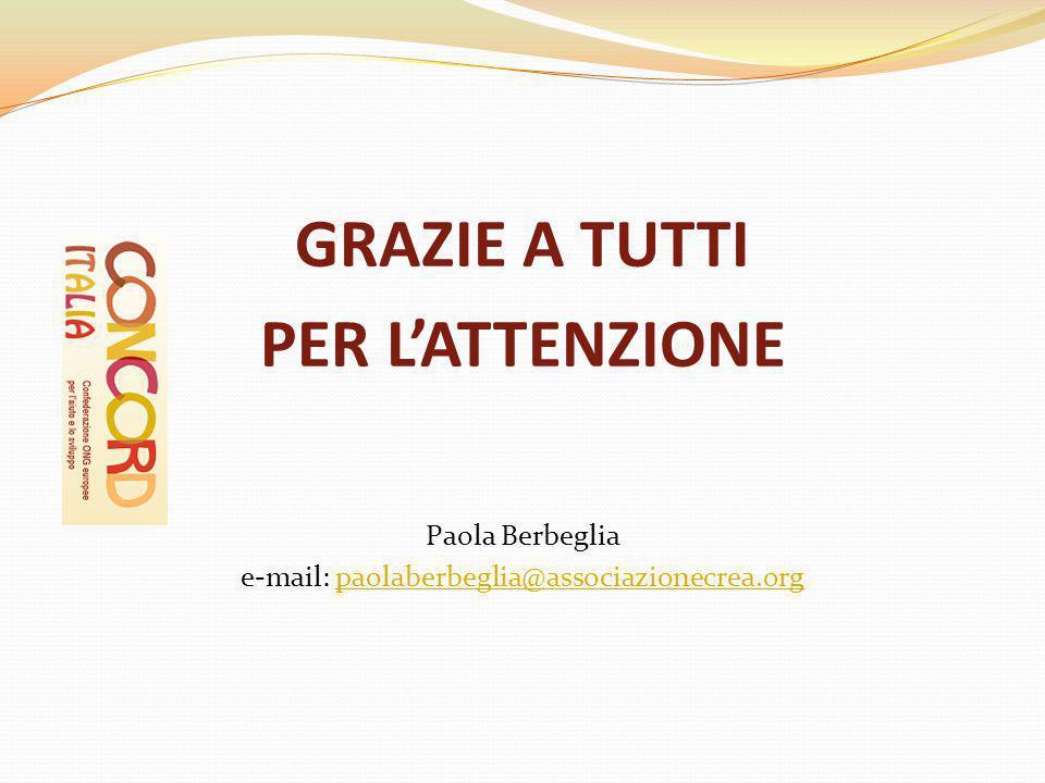 GRAZIE A TUTTI PER L'ATTENZIONE Paola Berbeglia e-mail: paolaberbeglia@associazionecrea.orgpaolaberbeglia@associazionecrea.org