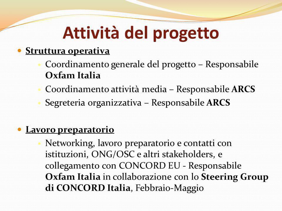 Attività del progetto Struttura operativa Coordinamento generale del progetto – Responsabile Oxfam Italia Coordinamento attività media – Responsabile ARCS Segreteria organizzativa – Responsabile ARCS Lavoro preparatorio Networking, lavoro preparatorio e contatti con istituzioni, ONG/OSC e altri stakeholders, e collegamento con CONCORD EU - Responsabile Oxfam Italia in collaborazione con lo Steering Group di CONCORD Italia, Febbraio-Maggio