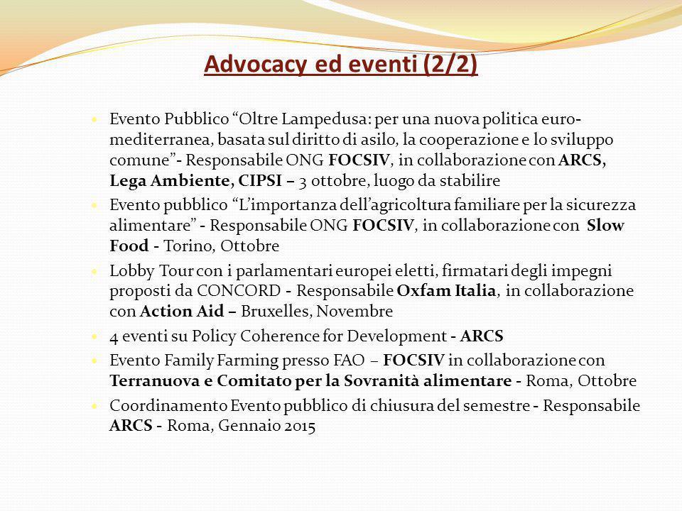 Advocacy ed eventi (2/2) Evento Pubblico Oltre Lampedusa: per una nuova politica euro- mediterranea, basata sul diritto di asilo, la cooperazione e lo sviluppo comune - Responsabile ONG FOCSIV, in collaborazione con ARCS, Lega Ambiente, CIPSI – 3 ottobre, luogo da stabilire Evento pubblico L'importanza dell'agricoltura familiare per la sicurezza alimentare - Responsabile ONG FOCSIV, in collaborazione con Slow Food - Torino, Ottobre Lobby Tour con i parlamentari europei eletti, firmatari degli impegni proposti da CONCORD - Responsabile Oxfam Italia, in collaborazione con Action Aid – Bruxelles, Novembre 4 eventi su Policy Coherence for Development - ARCS Evento Family Farming presso FAO – FOCSIV in collaborazione con Terranuova e Comitato per la Sovranità alimentare - Roma, Ottobre Coordinamento Evento pubblico di chiusura del semestre - Responsabile ARCS - Roma, Gennaio 2015