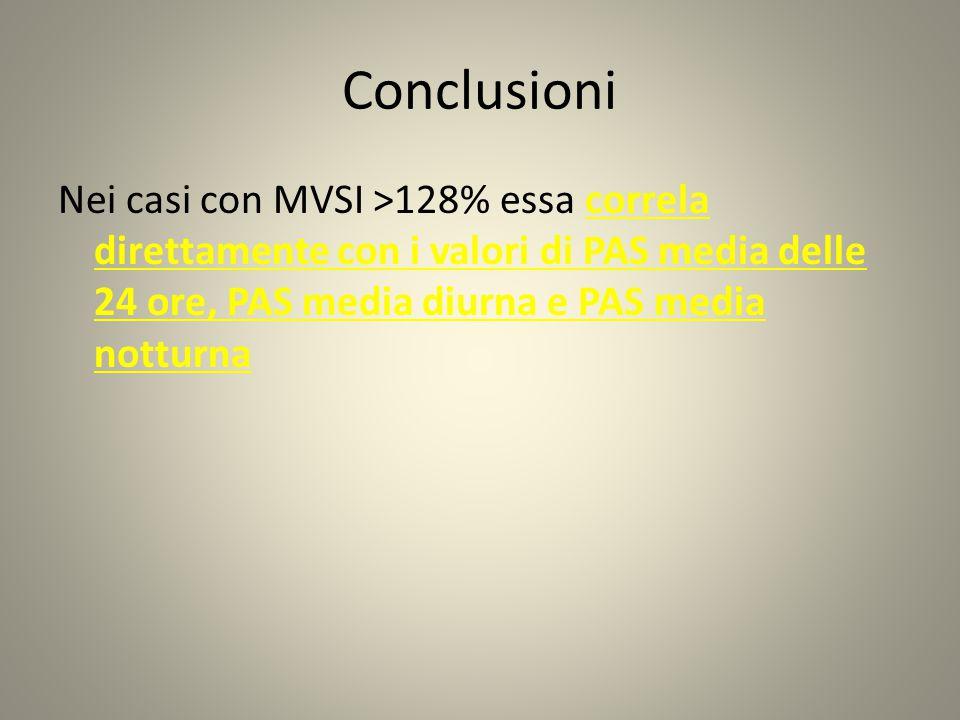 Conclusioni Nei casi con MVSI >128% essa correla direttamente con i valori di PAS media delle 24 ore, PAS media diurna e PAS media notturna