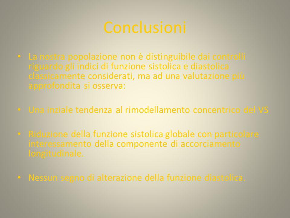 Conclusioni La nostra popolazione non è distinguibile dai controlli riguardo gli indici di funzione sistolica e diastolica classicamente considerati, ma ad una valutazione più approfondita si osserva: Una inziale tendenza al rimodellamento concentrico del VS Riduzione della funzione sistolica globale con particolare interessamento della componente di accorciamento longitudinale.