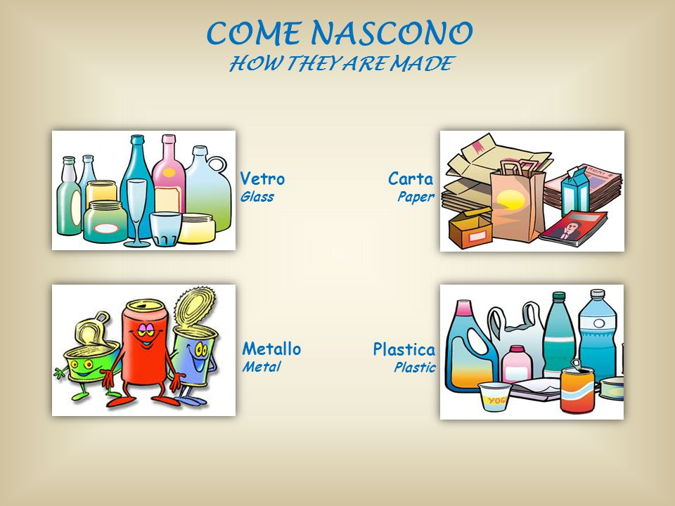 COME NASCONO HOW THEY ARE MADE Plastica Plastic Carta Paper Vetro Glass Metallo Metal