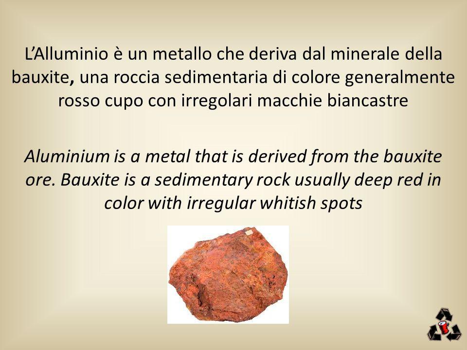 L'Alluminio è un metallo che deriva dal minerale della bauxite, una roccia sedimentaria di colore generalmente rosso cupo con irregolari macchie bianc