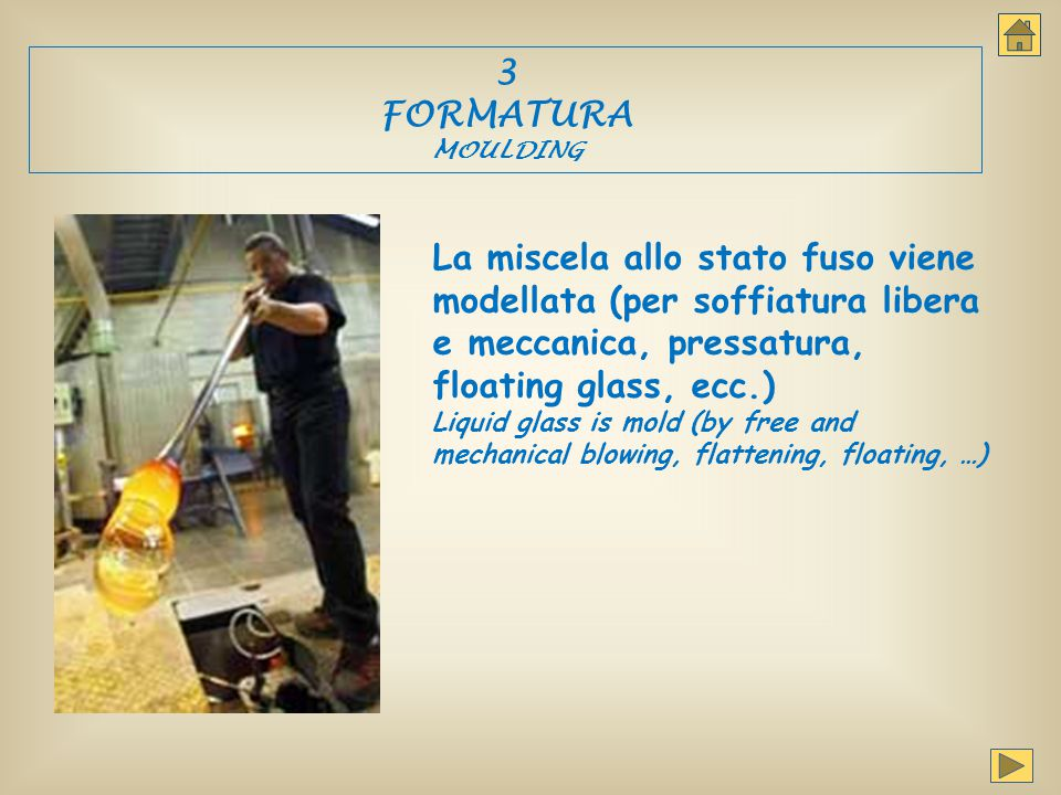 3 FORMATURA MOULDING La miscela allo stato fuso viene modellata (per soffiatura libera e meccanica, pressatura, floating glass, ecc.) Liquid glass is
