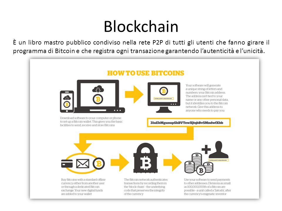Blockchain È un libro mastro pubblico condiviso nella rete P2P di tutti gli utenti che fanno girare il programma di Bitcoin e che registra ogni transazione garantendo l'autenticità e l'unicità.