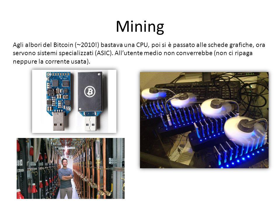 Mining Agli albori del Bitcoin (  2010!) bastava una CPU, poi si è passato alle schede grafiche, ora servono sistemi specializzati (ASIC).
