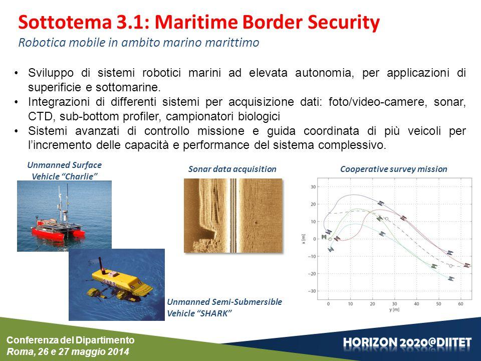 Conferenza del Dipartimento Roma, 26 e 27 maggio 2014 Sottotema 3.1: Maritime Border Security Robotica mobile in ambito marino marittimo Sviluppo di sistemi robotici marini ad elevata autonomia, per applicazioni di superificie e sottomarine.