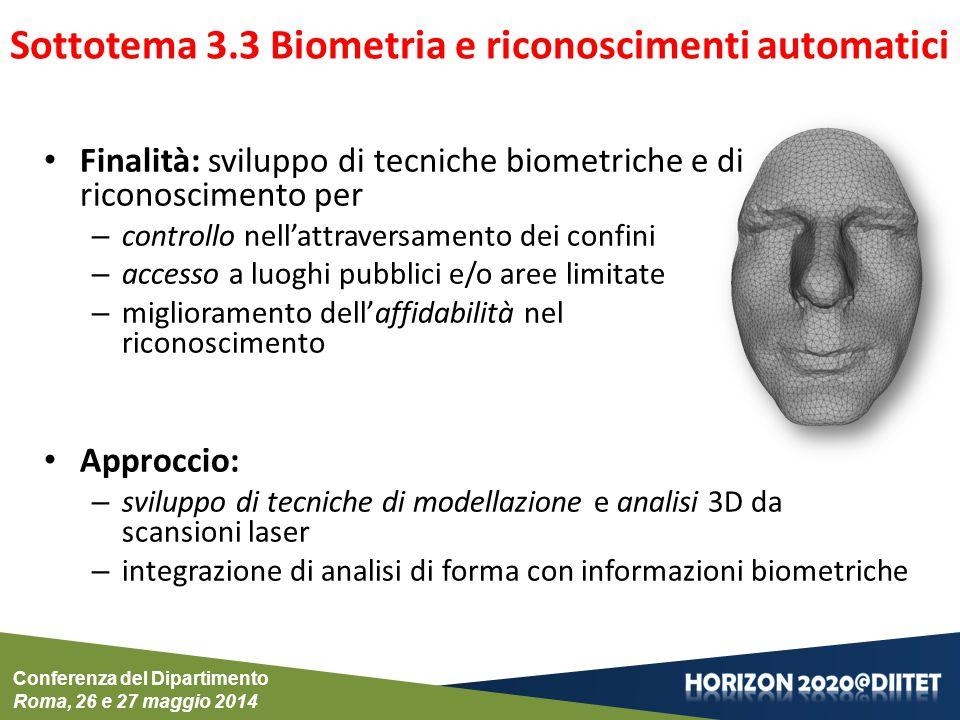 Conferenza del Dipartimento Roma, 26 e 27 maggio 2014 Sottotema 3.3 Biometria e riconoscimenti automatici Finalità: sviluppo di tecniche biometriche e di riconoscimento per – controllo nell'attraversamento dei confini – accesso a luoghi pubblici e/o aree limitate – miglioramento dell'affidabilità nel riconoscimento Approccio: – sviluppo di tecniche di modellazione e analisi 3D da scansioni laser – integrazione di analisi di forma con informazioni biometriche